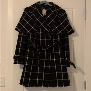 Scandal x the Limited Black and White Plaid Trench